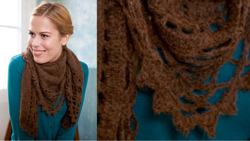 Mon chale dentelle au tricot et crochet