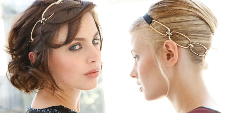 2 façons de porter le headband doré