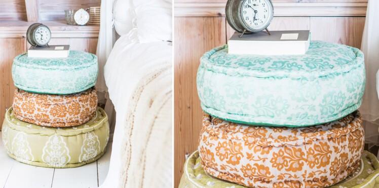 Poufs détournés pour table de chevet originale et express