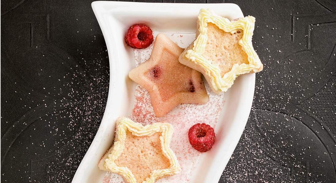 Biscuits roses de Reims et framboises, glaçage au chocolat