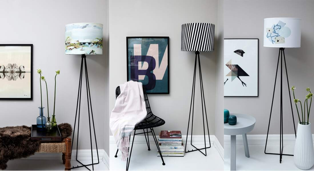 Un lampadaire en 3 versions