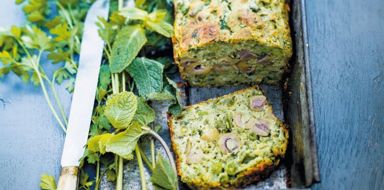 Cake vert aux légumes et aux olives