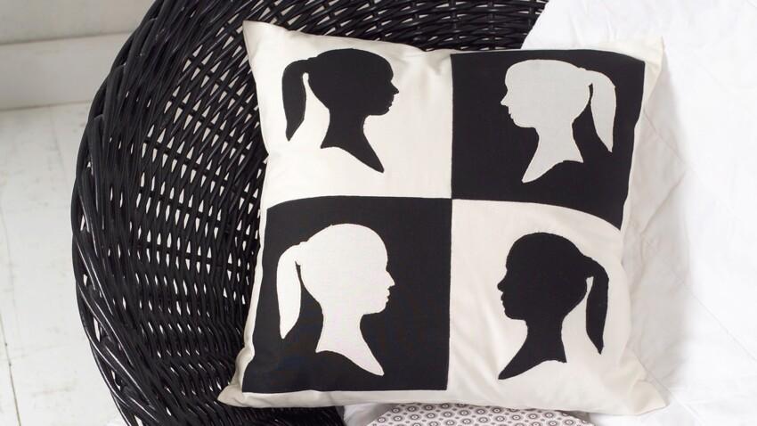 Couture : un coussin graphique en noir et blanc