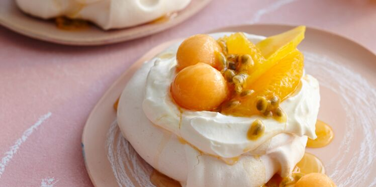 Mini pavlova aux fruits jaunes