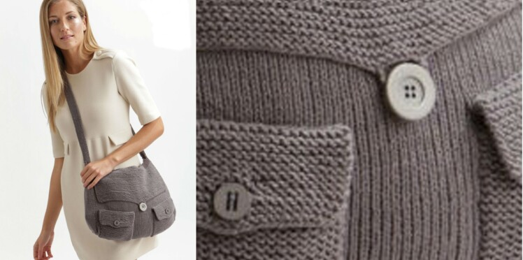 Un sac besace tricoté