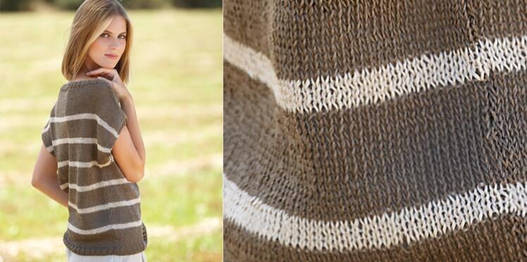 Le top rayé tricoté en jersey