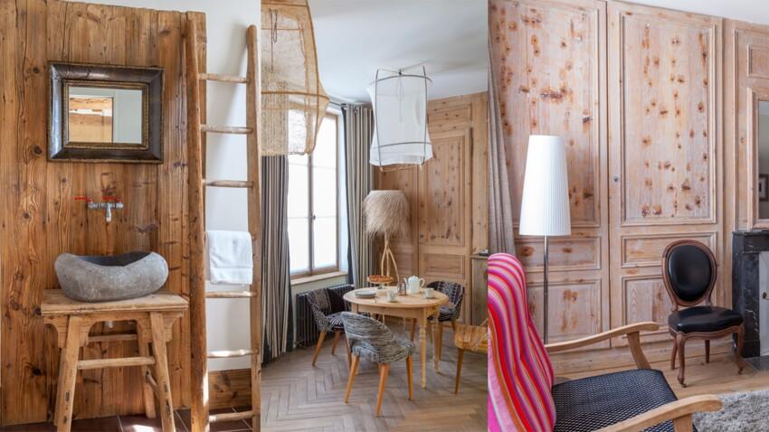 Déco d'intérieur : un lavabo, suspensions et murs natures