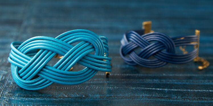 Bracelet tressé : le modèle au noeud marin