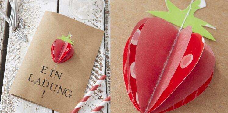 Un menu pop-up avec une fraise