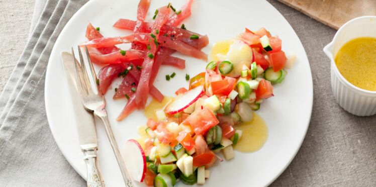 Tartare de thon aux petits légumes croquants