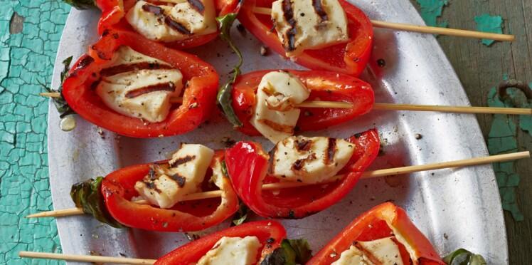 Brochettes de poivron et fromage à la grecque