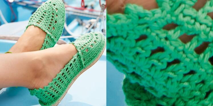 Les espadrilles vertes au crochet