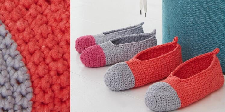 Les Chaussons Bicolores Au Crochet Femme Actuelle Le Mag