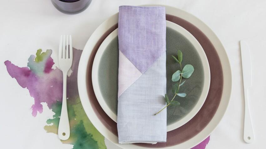 Art de la table : une serviette en lin façon patchwork