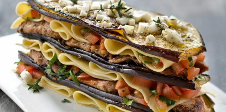 Millefeuille d'aubergines et lasagnes à l'agneau