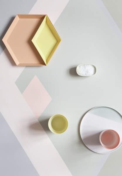 Une déco pastel et géométrique : le plateau coloré