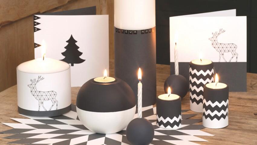 Décorations de Noël : bougies graphiques en noir et blanc