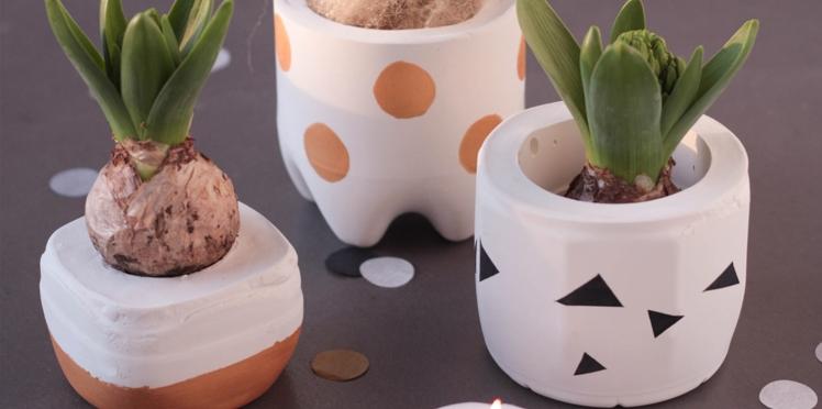 Activités manuelles de Noël : des pots en ciment