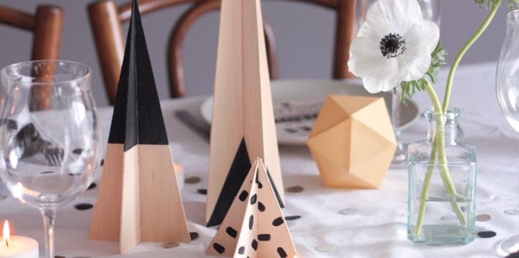 Bricolage de Noel, des sapins déco de table