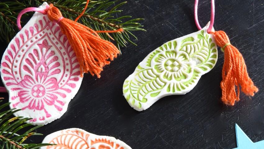 Activités manuelles de Noël : déco sapins en porcelaine froide