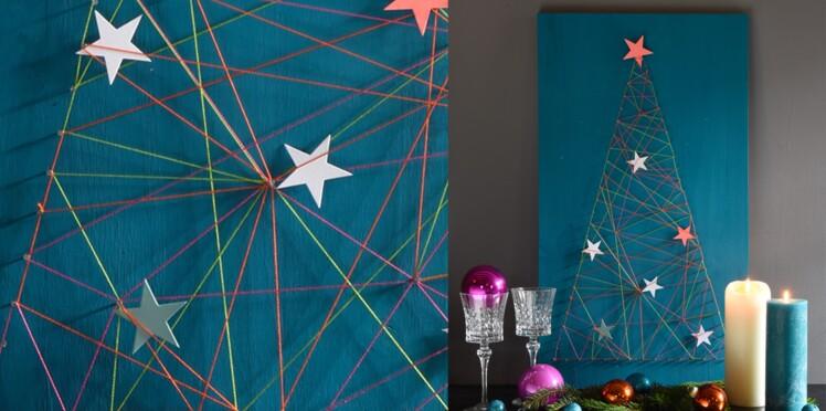 Activités manuelles de Noël, un sapin en fils tirés