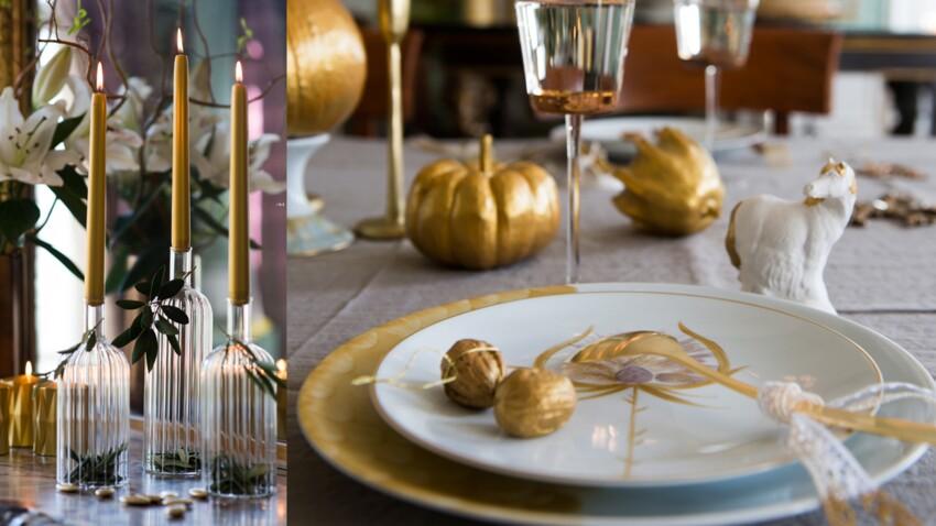 Une déco de table dorée pour Noël