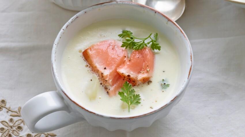 Velouté d'asperges au saumon mi-cuit