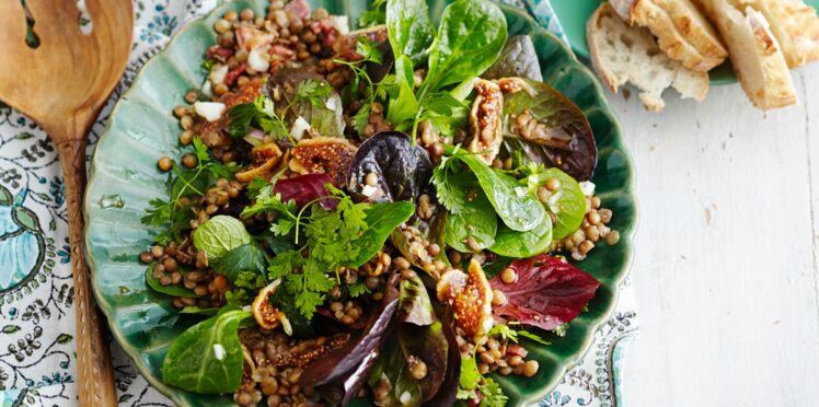 Salade de lentilles tièdes aux figues