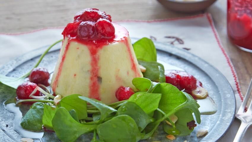Flan au fromage de chèvre et cranberries