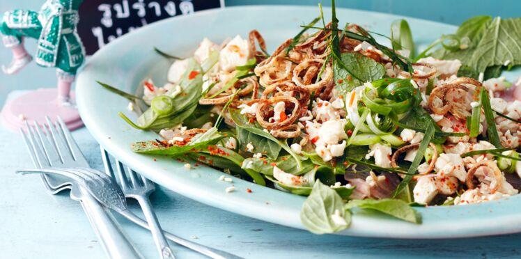 Salade croustillante au poulet et aux herbes