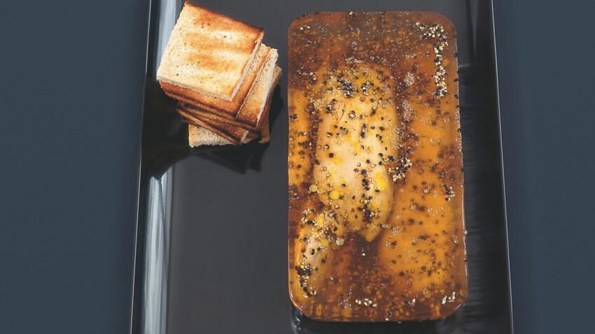 Foie gras au poivre noir, gelée au Montbazillac