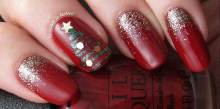Tuto nail art de fêtes : sapin de Noël