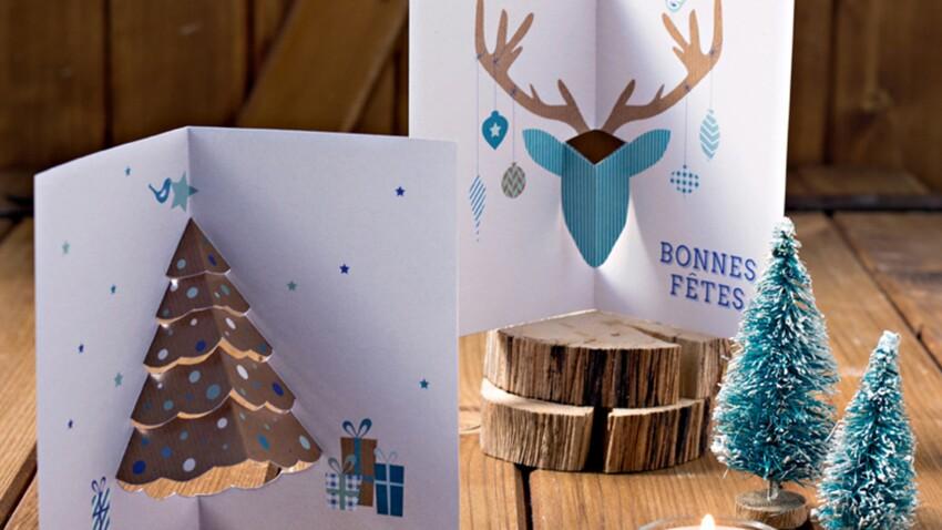 Carte pop-up avec un sapin et un cerf pour Noël