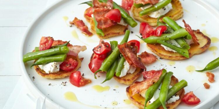 Petites socca haricots verts-bacon à l'italienne