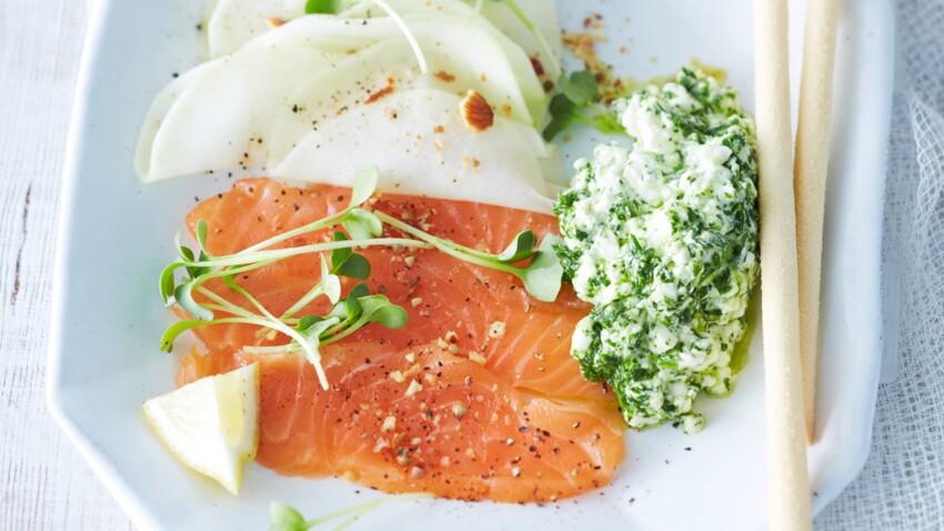Carpaccio de saumon et cottage cheese aux herbes