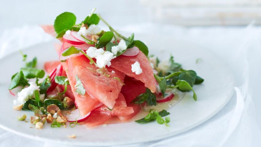 Salade pastèque, féta et cresson