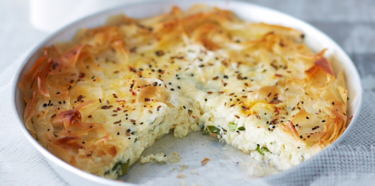 Tourte feuilletée aux deux fromages et à la menthe