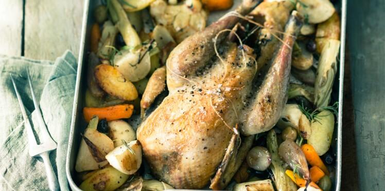 Pintade rôtie aux jeunes légumes