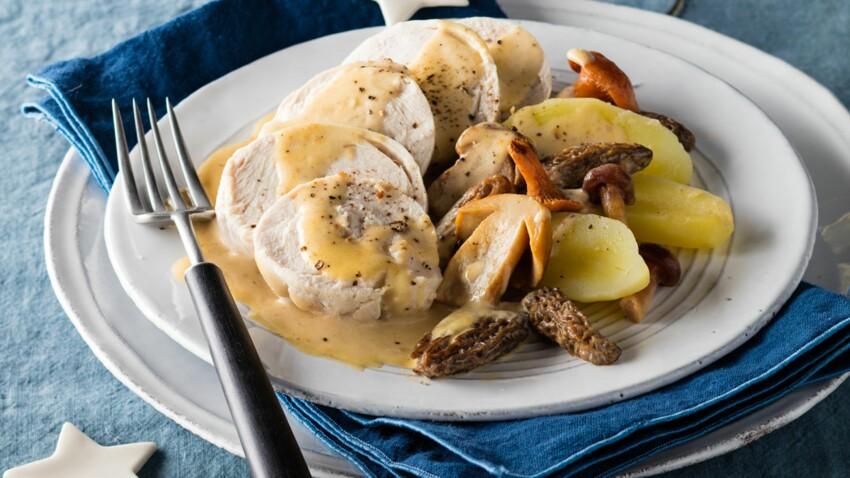 Suprêmes de volaille de Bresse, fricassée de champignons au vin jaune par Ophélie Barès