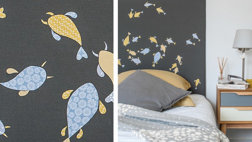 Customiser une tête de lit avec des poissons en papier