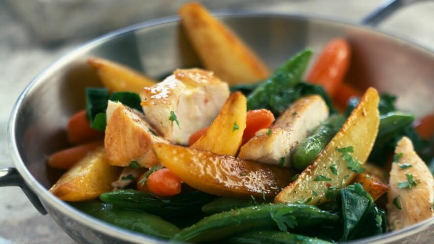 Légumes rôtis à l'ail et poulet croustillant