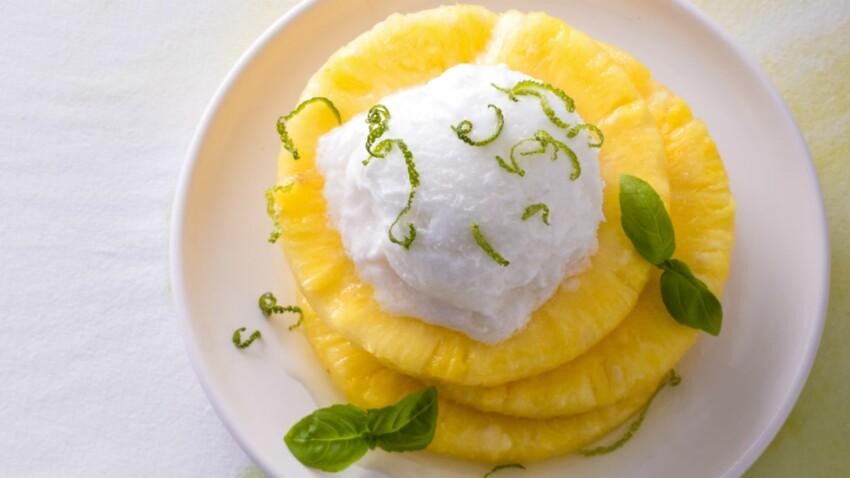 Ananas, citron vert, sorbet fromage blanc de Cyril Lignac
