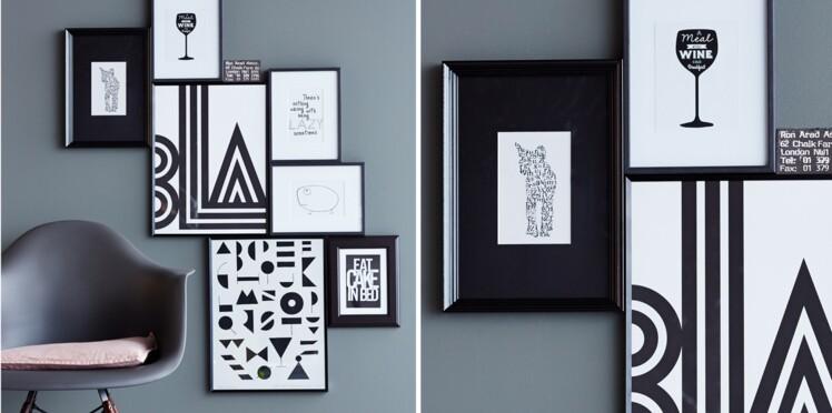 Un assemblage de cadres noir et blanc pour la déco