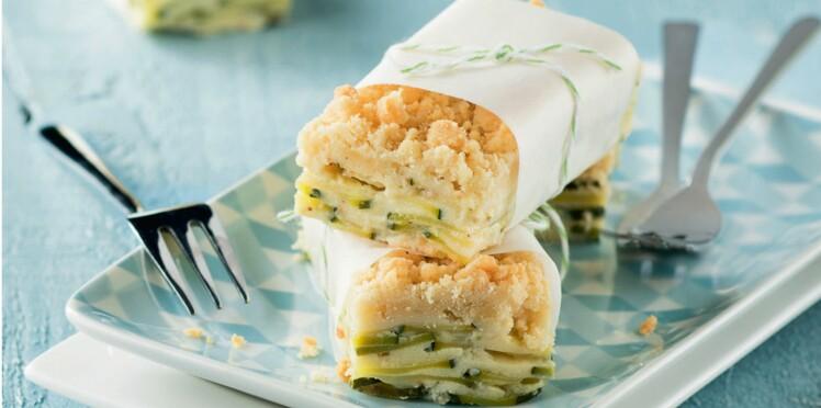 Gâteau à la courgette et crumble au parmesan