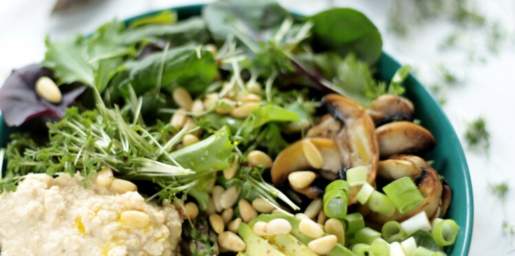 Assiette gourmande à l'avocat et champignons poêlés