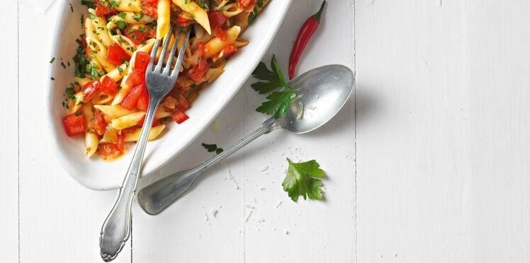 Penne aux tomates pimentées