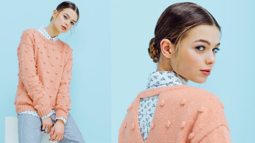 Le pull rose avec noppes