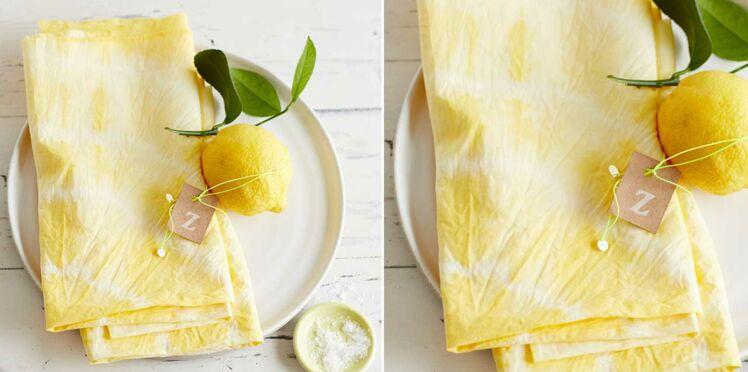 Des serviettes tie & dye jaune citron