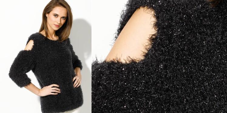 Le pull noir brillant   Femme Actuelle Le MAG f2298c73c3d