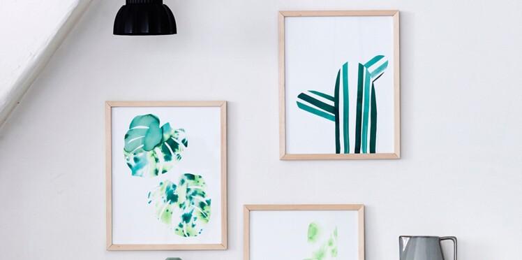 Des silhouettes de cactus à l'aquarelle